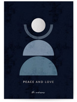 This is a blue foil stamped holiday card by Iveta Angelova called Peace and Love with foil-pressed printing on signature in standard.