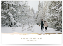 This is a brown foil stamped holiday card by Ekko Studio called Gilded Edge with foil-pressed printing on smooth signature in standard.