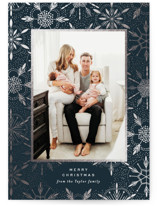 This is a blue foil stamped holiday card by Alethea and Ruth called Detailed Snowflakes with foil-pressed printing on smooth signature in standard.