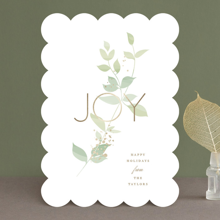 """Serene Joy"" - Foil-pressed Holiday Cards in Jade by Jennifer Postorino."