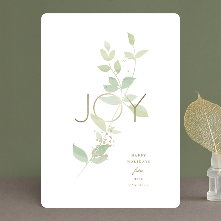 """Serene Joy"" - Foil-pressed Holiday Cards in Jade by Jennifer Postorino."