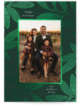 This is a green foil stamped holiday card by Morgan Kendall called Dotted Leaves with foil-pressed printing on smooth signature in standard.