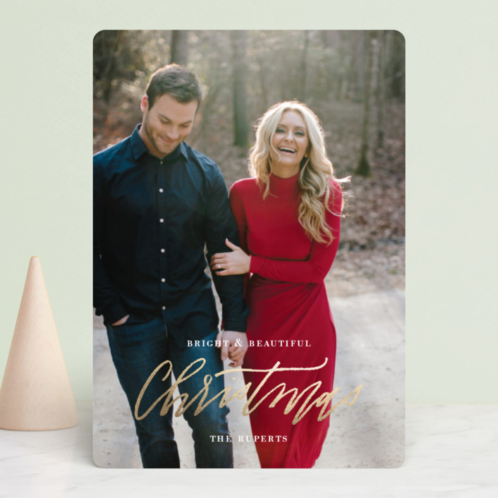 """""""Newlywed Glam"""" - Foil-pressed Holiday Cards in Golden by Cheer Up Press."""