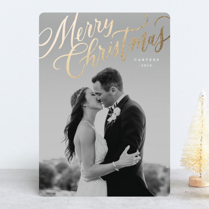 """""""Modern Merry Christmas"""" - Foil-pressed Holiday Cards in Winter Rose by Wildfield Paper Co.."""