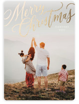 This is a white foil stamped holiday card by Wildfield Paper Co. called Modern Merry Christmas with foil-pressed printing on smooth signature in standard.