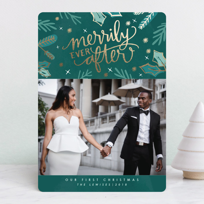 """Merrily Ever After"" - Foil-pressed Holiday Cards in Evergreen by Makewells."