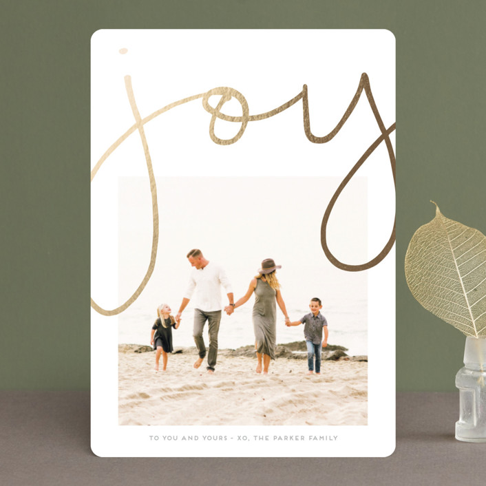 """""""More Joy"""" - Modern Foil-pressed Holiday Cards in Gold by Kaydi Bishop."""