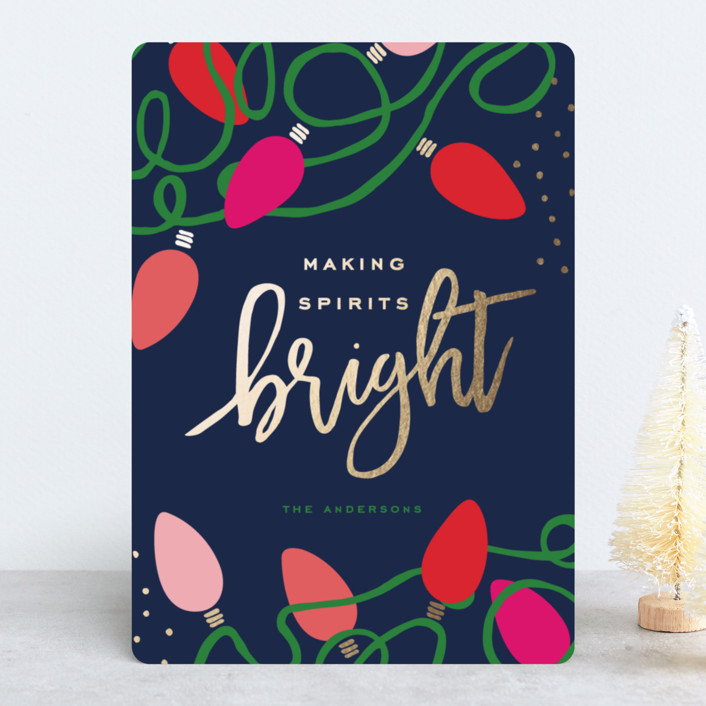 """Tangled Lights"" - Modern Foil-pressed Holiday Cards in Colorful Night by Oscar & Emma."