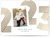 This is a black foil stamped holiday card by Anna Elder called Numbers with foil-pressed printing on smooth signature in standard.