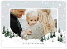 This is a blue foil stamped holiday card by Jennifer Lew called Christmas Peak with foil-pressed printing on smooth signature in standard.