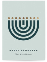 This is a blue foil stamped holiday card by Maria Alou called Abstract Hanukkah with foil-pressed printing on signature in standard.