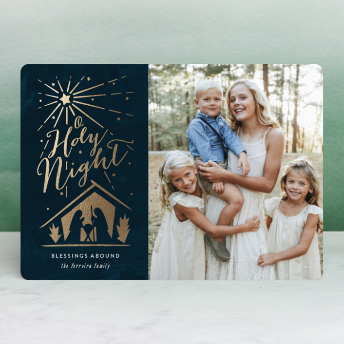 """Bright night"" - Vintage Foil-pressed Holiday Cards in Indigo by Ana de Sousa."