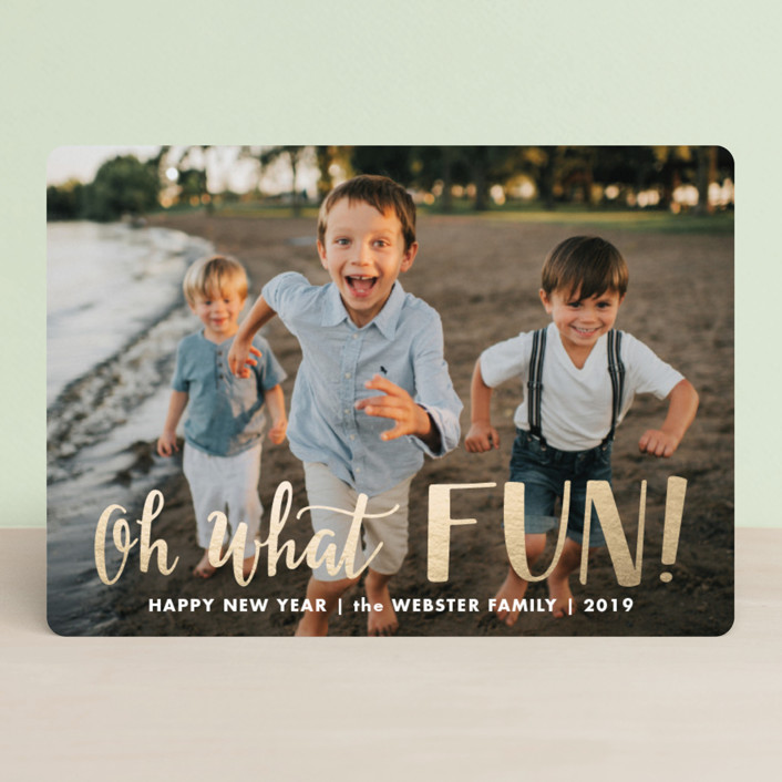 """""""Hand Lettered Oh What Fun!"""" - Funny Foil-pressed Holiday Cards in Snow by Vine and Thistle."""