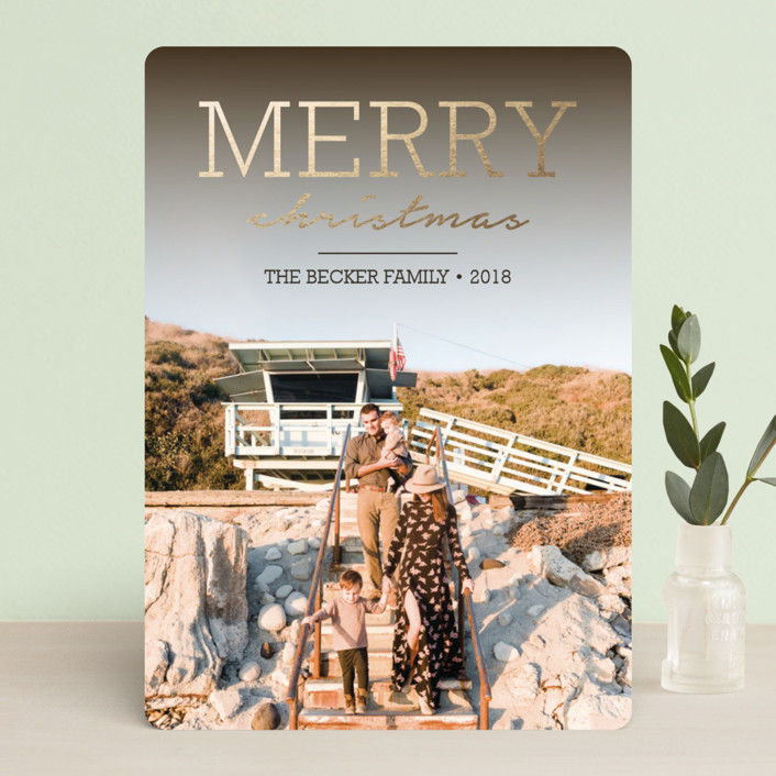 """Modern Rustic"" - Foil-pressed Holiday Cards in Fudge by Lorent and Leif."