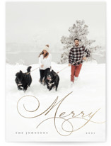 This is a black foil stamped holiday card by Chryssi Tsoupanarias called Holiday Elegance with foil-pressed printing on smooth signature in standard.