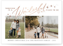 This is a white foil stamped holiday card by Jamie Schultz Designs called Together is Wonderful with foil-pressed printing on smooth signature in standard.