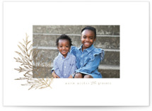 This is a brown foil stamped holiday card by Danie Romrell called Golden Leaf with foil-pressed printing on smooth signature in standard.