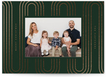 This is a green foil stamped holiday card by Danie Romrell called Taffy Tracks with foil-pressed printing on smooth signature in standard.