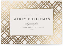 This is a beige foil stamped holiday card by Melanie Kosuge called Interlace with foil-pressed printing on signature in standard.