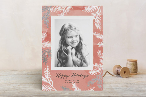 Watercolor Pines Foil-Pressed Holiday Cards