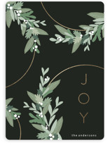This is a green foil stamped holiday card by Iveta Angelova called Festive Wreaths with foil-pressed printing on signature in standard.