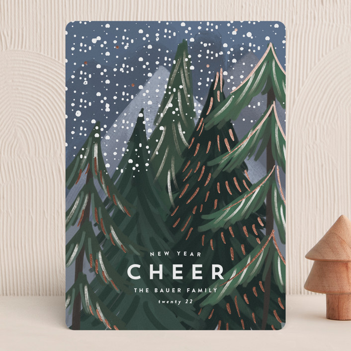 """Treetop"" - Bohemian Foil-pressed Holiday Cards in Midnight by Rebecca Durflinger."