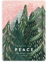 This is a pink foil stamped holiday card by Rebecca Durflinger called Treetop with foil-pressed printing on signature in standard.
