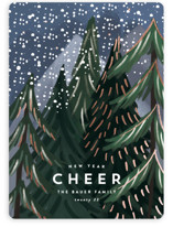 This is a blue foil stamped holiday card by Rebecca Durflinger called Treetop with foil-pressed printing on signature in standard.