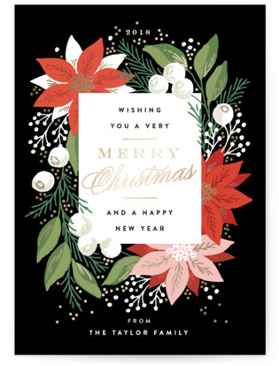 Greeting Card Floral Foil-Pressed Holiday Cards