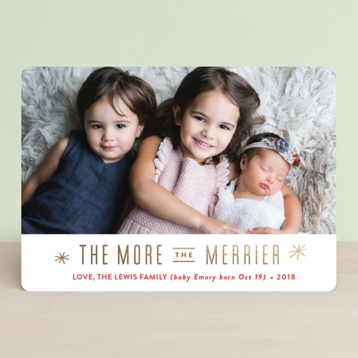 """The More, the Merrier"" - Foil-pressed Holiday Cards in Snow by Carolyn MacLaren."