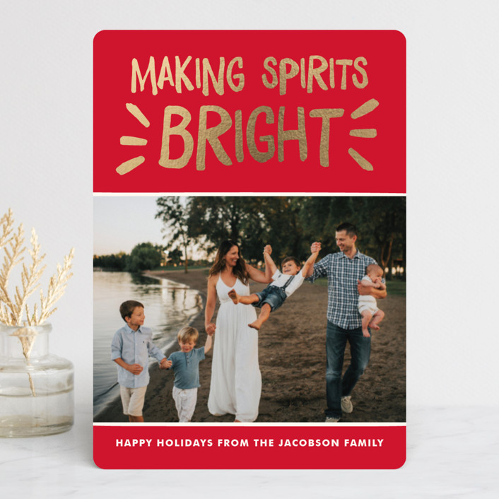 """Spirited Holiday"" - Foil-pressed Holiday Cards in Holly by The Social Type."