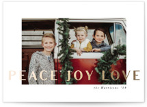 This is a white foil stamped holiday card by Karidy Walker called modern peace joy love with foil-pressed printing on smooth signature in standard.