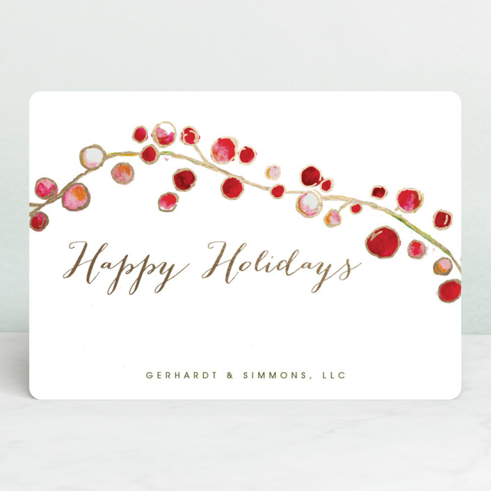 """""""Holly and Berries"""" - Foil-pressed Holiday Cards in White by Erin Deegan."""