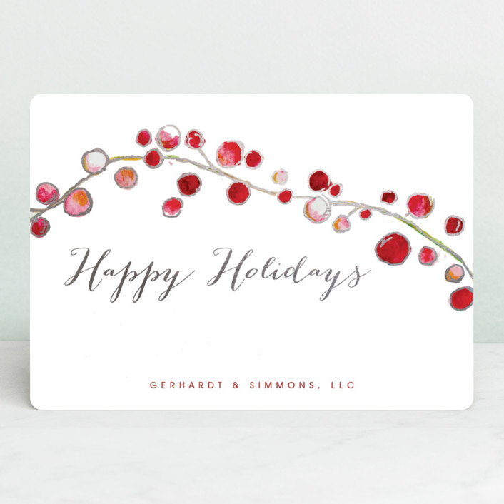 """Holly and Berries"" - Foil-pressed Holiday Cards in Cardinal by Erin Deegan."