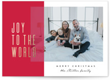 This is a red foil stamped holiday card by Owl and Toad called Modern Joy to the World with foil-pressed printing on smooth signature in standard.