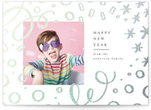 This is a grey foil stamped holiday card by Ally Madison called Abstract Confetti with foil-pressed printing on smooth signature in standard.