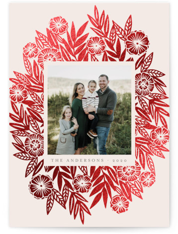Foiled Floral Spray Foil-Pressed Holiday Cards