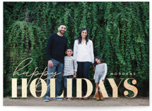 This is a beige foil stamped holiday card by Angela Thompson called Holiday Happiness with foil-pressed printing on smooth signature in standard.
