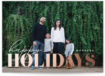 This is a white foil stamped holiday card by Angela Thompson called Holiday Happiness with foil-pressed printing on smooth signature in standard.