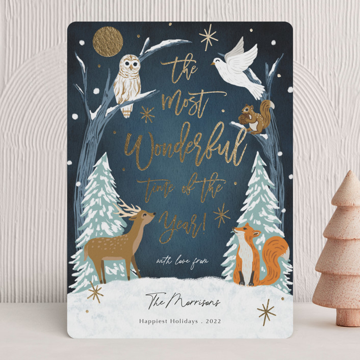 """""""Winter Night"""" - Foil-pressed Holiday Cards in Midnight by Elly."""