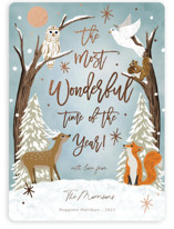 This is a blue foil stamped holiday card by Elly called Winter Night with foil-pressed printing on signature in standard.