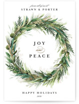 This is a green foil stamped holiday card by Susan Moyal called Natural Wreath with foil-pressed printing on signature in standard.