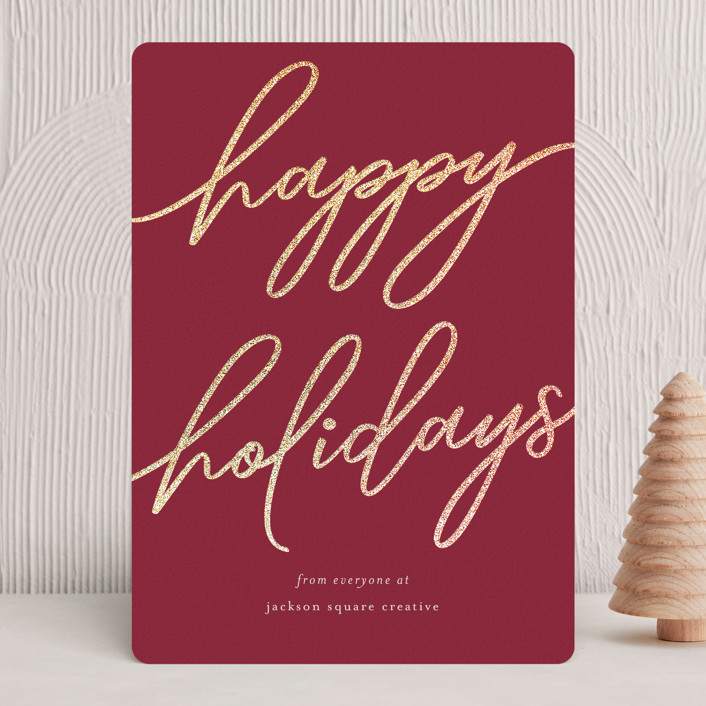 """Holiday Script"" - Foil-pressed Holiday Cards in Candy Cane by Tennie and Co.."