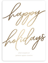 This is a brown foil stamped holiday card by Tennie and Co. called Holiday Script with foil-pressed printing on signature in standard.