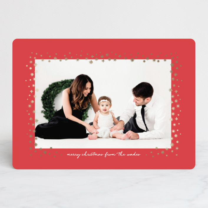 """""""Silent Stars Go By"""" - Foil-pressed Holiday Cards in Cherry by Olivia Kanaley."""