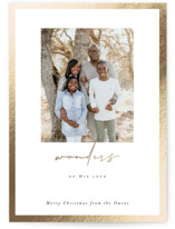 This is a white foil stamped holiday card by Sara Hicks Malone called wonders frame with foil-pressed printing on smooth signature in standard.
