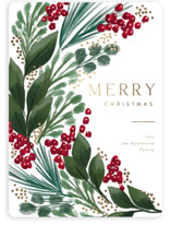 This is a green foil stamped holiday card by Rebecca Durflinger called garland sweep with foil-pressed printing on signature in standard.