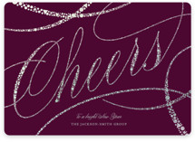 This is a purple foil stamped holiday card by fatfatin called Sparkling Cheers with foil-pressed printing on signature in standard.