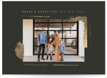 This is a black foil stamped holiday card by Oscar and Emma called Peace & Cheer with foil-pressed printing on smooth signature in standard.