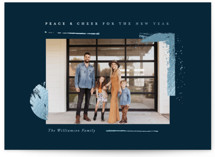 This is a blue foil stamped holiday card by Oscar and Emma - Karly Depew called Peace & Cheer with foil-pressed printing on smooth signature in standard.